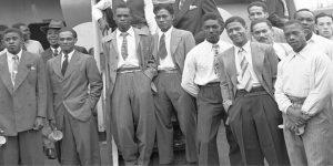 Desembarque dos jamaicanos do Empire Windrush em Tilbury, 21 de junho de 1948