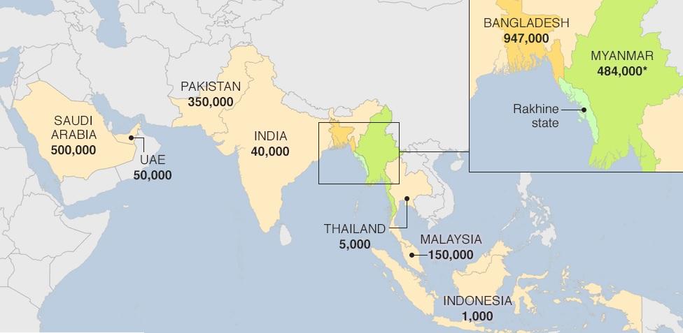 Distribuição espacial dos Rohingyas
