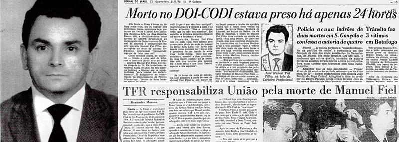 Notícia do assassinato na prisão do operário Manoel Fiel Filho, em janeiro de 1976