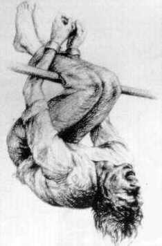 """Método de tortura conhecido como """"pau de arara"""". Amplamente usado nas delegacias brasileiras pelo menos até a década de 1990"""