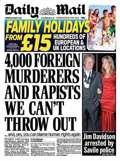 Capa xenófoba do Daily Mail publicada em janeiro de 2013