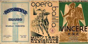 ce1f40dde8 Três cartazes de propaganda da escola fascista na Itália de Benito  Mussolini. As crianças deviam aprender a celebrar o Estado totalitário