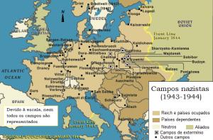 Mapa de campos de concentração onde ocorreu o holocausto