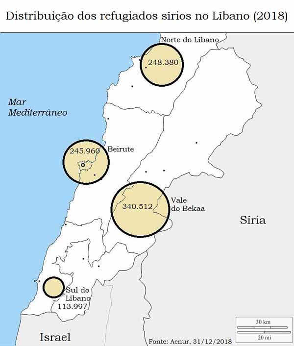 Mais de um terço dos refugiados sírios no Líbano vivem no Vale do Bekaa, no oriente do país, limitado pela cadeia montanhosa do Anti-Líbano, que demarca a fronteira com a Síria. Fonte: ACNUR