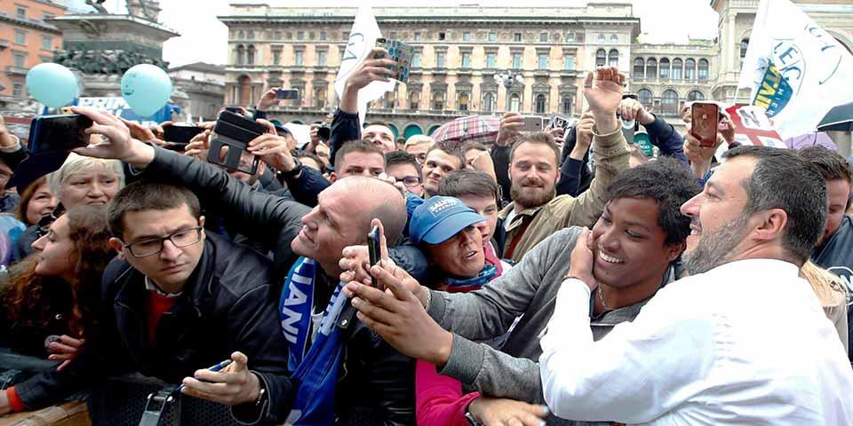Matteo Salvini no comício dos partidos da direita nacionalista europeia, em Milão, em 18 de maio de 2019
