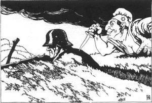 """O Kaiser escreveu em suas memórias: """"... após brilhantes quatro anos e meio de guerra com vitórias sem precedentes, ele (o Exército) foi forçado ao colapso pela punhalada nas costas da adaga dos revolucionários"""""""