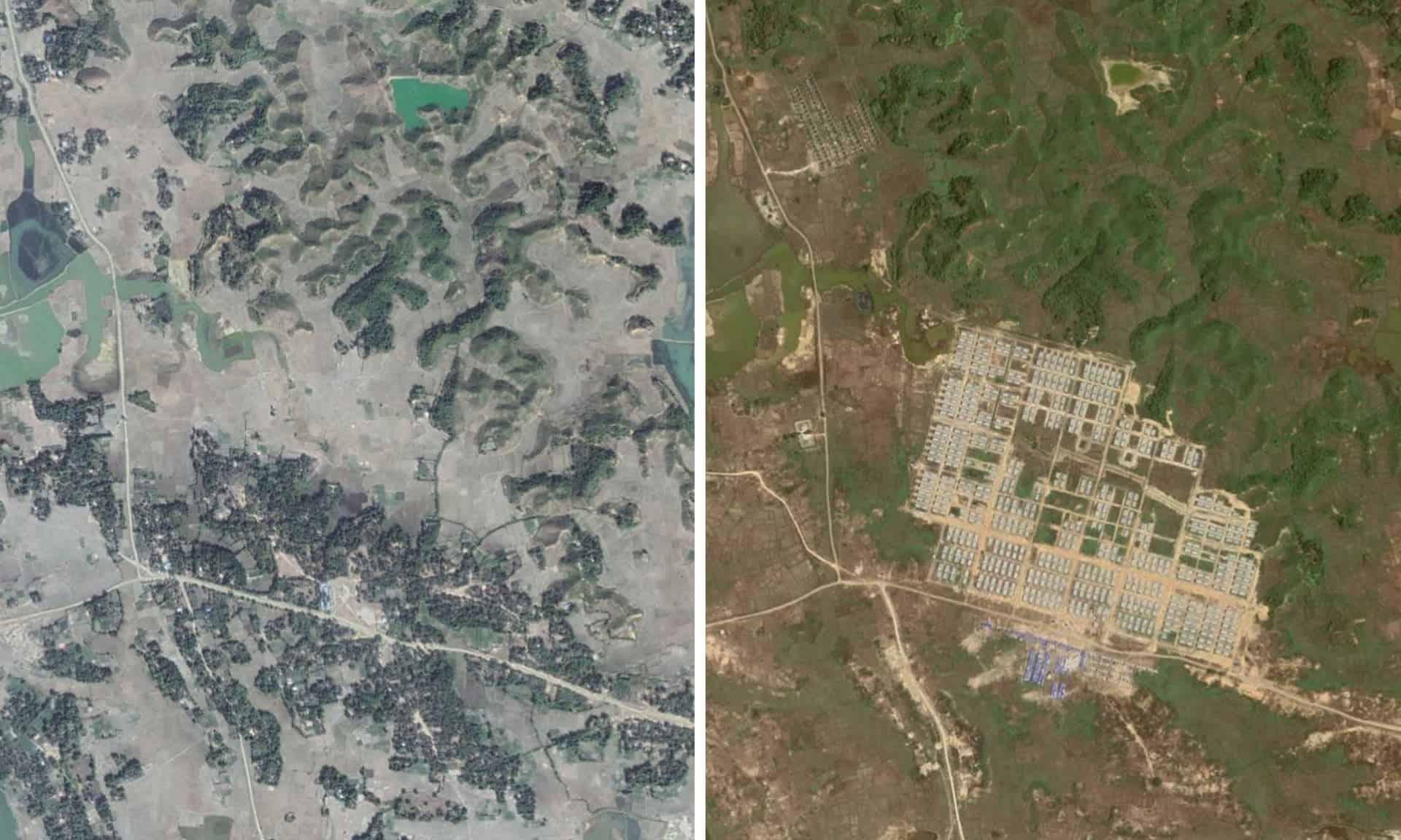 A foto da esquerda mostra a área antes ocupada pela aldeia de Hla Pho Khaung. A segunda foto, de 2019, mostra a construção do campo de trânsito de Hla Pho Khaung, que servirá provavelmente para abrigar os retornados