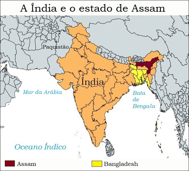 A Índia e o estado de Assam