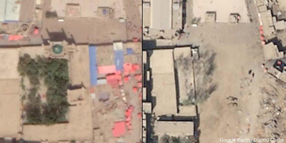 Imagens de satélite de setembro de 2018 e abril de 2019 mostram a demolição de uma mesquita em Kargilik, no sudoeste do Xinjiang