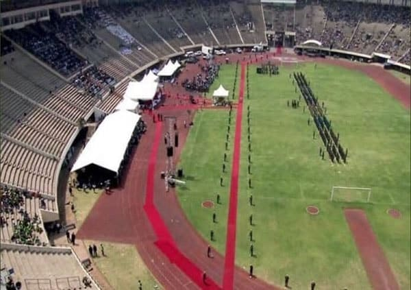 O Estádio Nacional, em Harare, no velório de Mugabe