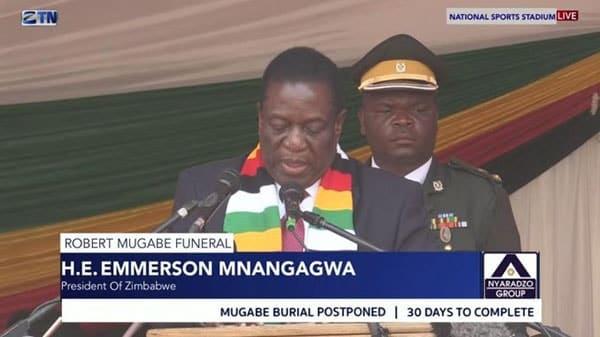 Mnangagwa nos funerais de Mugabe