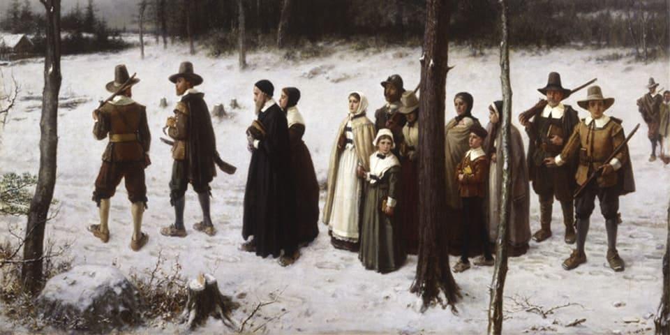 A imagem dos w.a.s.p.(s), na pintura de George Henry Boughton . A comunidade se dirige ao culto. As armas são um elemento fundamental da imagem.