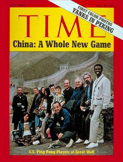 Jogadores de pingue-pongue estadunidenses na Muralha da China