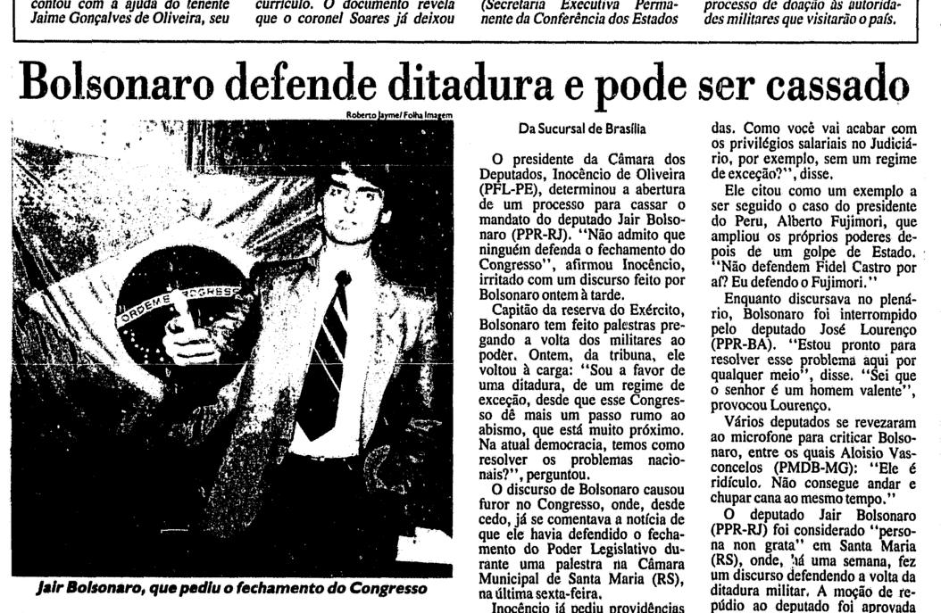 Bolsonaro defende a ditadura