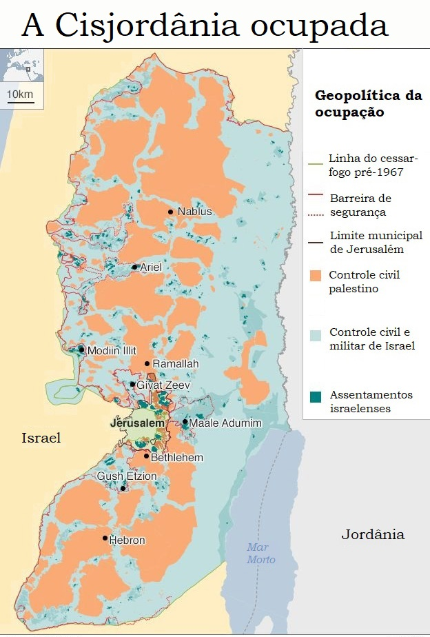 Mapa da Cisjordânia ocupada