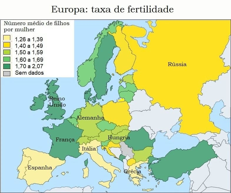 Taxa de fertilidade da Europa